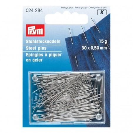 Epingles à piquer en acier 30 x 0.50 mm Super fine 024284 Prym