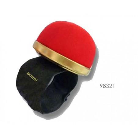 Bracelet Ajustable Bohin pour épingles -  Pelote tissu Rouge